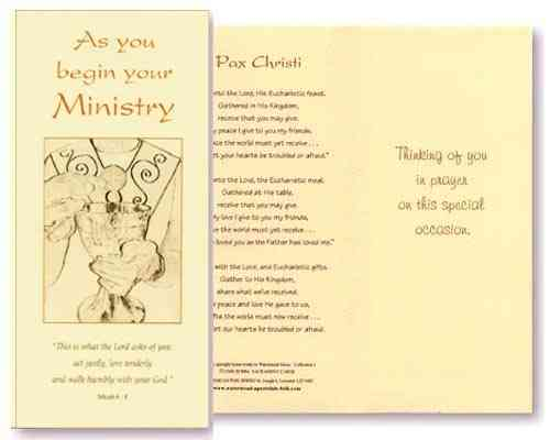 Ministry Card -  As You Begin Your Ministry