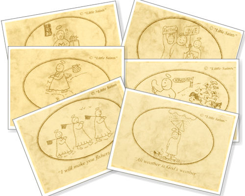 Little Saints Coasters (Brown/Cream) (6)