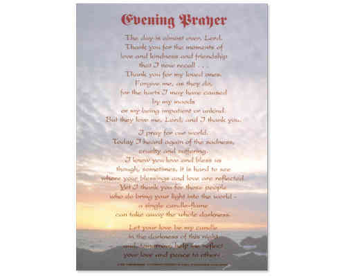 Evening Prayer Laminate