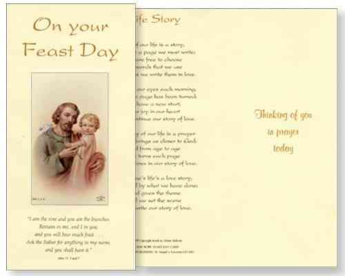 Saints and feast day cards patron patrick david therese angels st joseph feast day card m4hsunfo