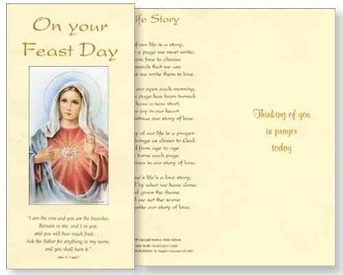 Immaculate Heart Feast Day Card