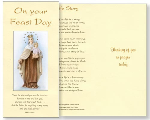 Feast Of Our Lady Of Mount Carmel Quotes: Our Lady Of Mount Carmel Feast Day Card