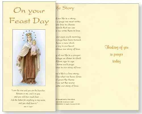 Our Lady of Mount Carmel Feast Day Card