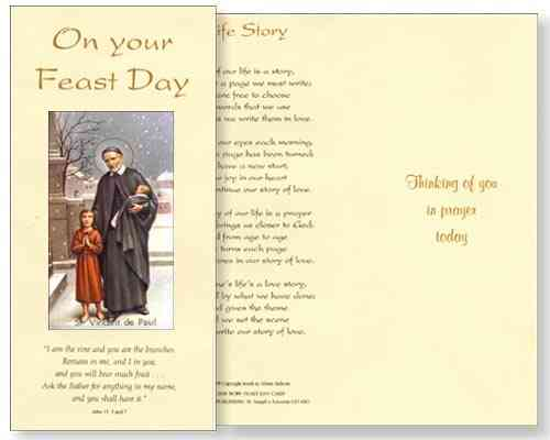 St Vincent De Paul Feast Day Card