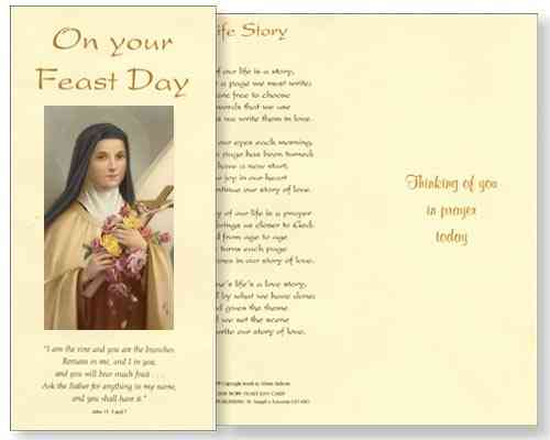 St Theresa Feast Day Card