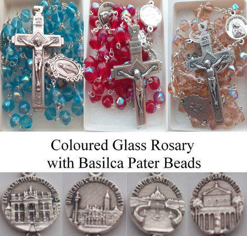 Glass Rosary Beads with Basilica Pater Bead